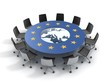 european union round table - EU meeting conference 3d concept