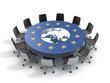 european union round table - EU meeting conference 3d concept