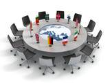 european union round table - EU meeting, conference 3d concept