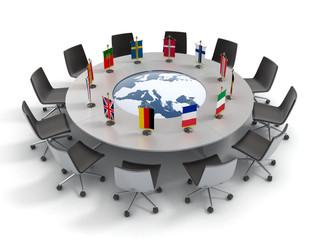 european union round table - EU meeting, conference 3d concept