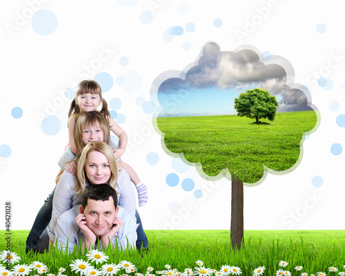 Collage with children and parents on green grass