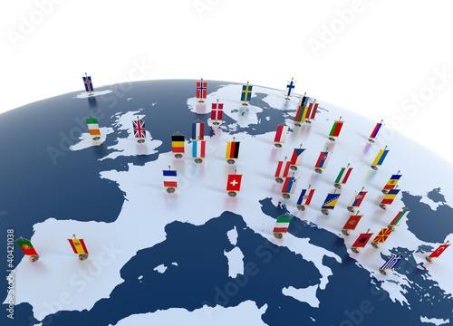 european countries - continent marked with flags - 40421038
