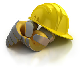 construction helmet and gloves isolated