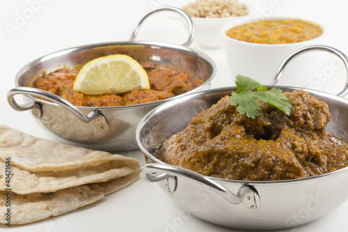 Goan Chicken Xacuti & Meat Madras with rice, dahl & chapati