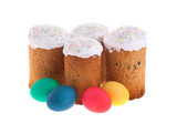 Traditional orthodox easter cake kulich and colored eggs