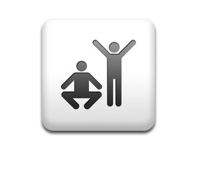 Boton cuadrado blanco simbolo ejercicio fisico