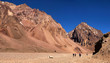 Hikers trekking in the Andes in Argentina, South America