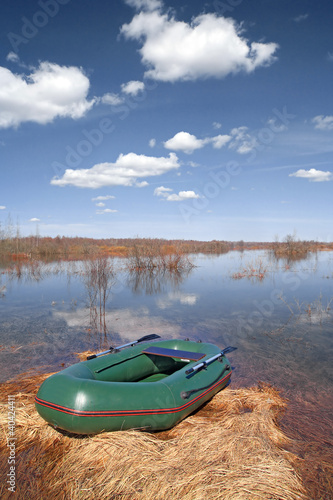 rubber boat on coast river