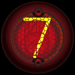 Digit 7 (seven). Nixie tube indicator