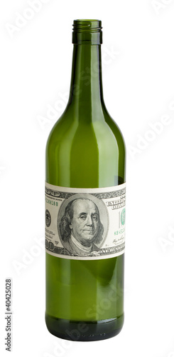 Wine bottle with a dollar bills