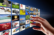 Hand reaching streaming multimedia from internet