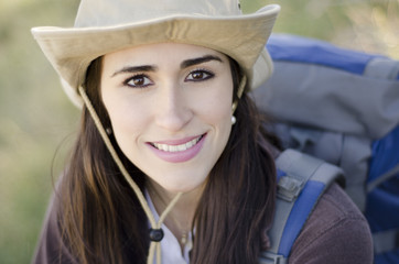 Young beautiful woman on a hiking trip