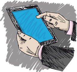 Sketch of Businessman hands are pointing on touch screen device.
