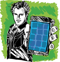 Sketch of Handsome guy showing his Modern Smartphone. Vector
