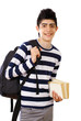 Smiling school boy with bag and books