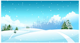 Fototapety City skyline over snow landscape