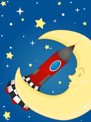 Rocket and moon
