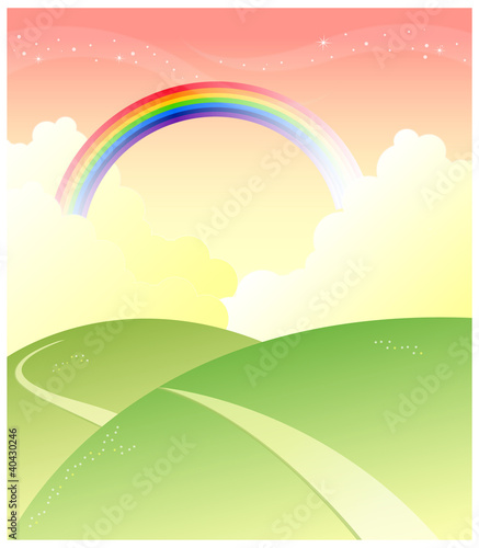 Green mountain with rainbow in sky