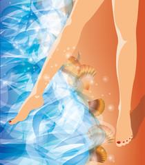 Girl foots on the beach. vector illustration