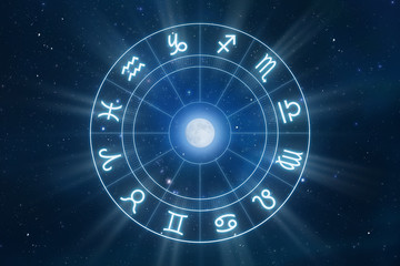 Zodiac Signs Horoscope with universe as background