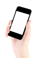 Smartphone In Hand With Blank Screen Isolated