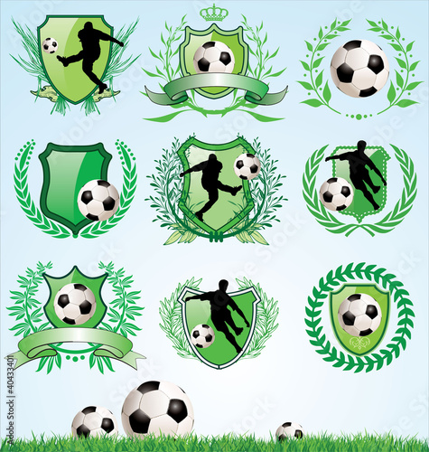Soccer shield and laurel wreath set