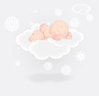 Cute Baby Sleeping on Cloud