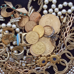 jewels and gold coins, vintage background