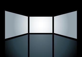 three blank screens