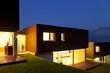 three modern houses .outdoor by night