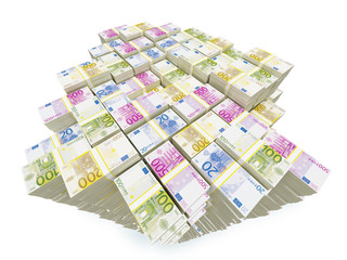 Big money. Close-up of Euro banknotes