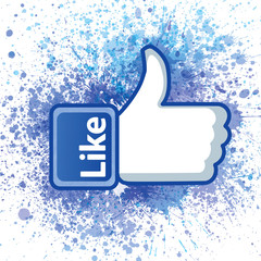 Thumb up hand with word like and color sprays. Vector