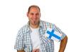 Junger Mann mit finnischer Nationalfahne