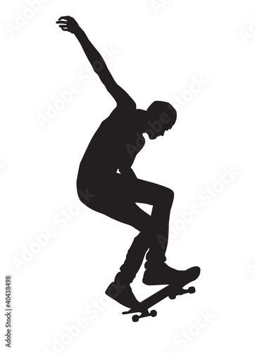 man on the skateboard, on a white background
