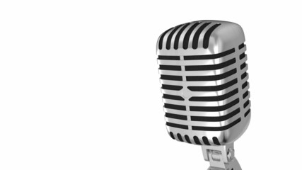 Classic metal microphone on white background with clipping path