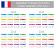 2013-2016 Type-1 French Calendar Mon-Sun on white background