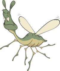 Little green mosquito.Cartoon