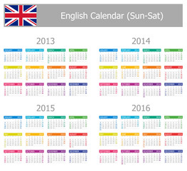 2013-2016 Type-1 English Calendar Sun-Sat on white background