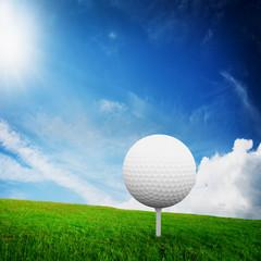 Playing golf. Ball on tee on green golf field