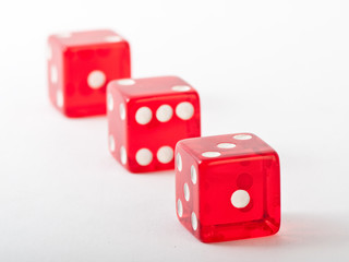 red dice in a row