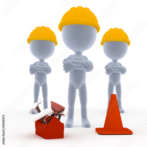 Builders, toon workers with tools