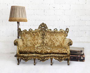 victorian sofa in white room