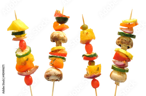 Vegetable kebabs with peppers, mushrooms, tomatoes, pineapple