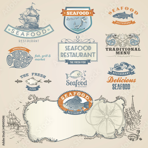Seafood labels and elements