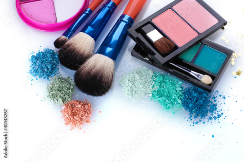 eye shadow and make-up brushes isolated on white