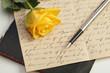 Rose mit Antikem Brief, Buch und Füller