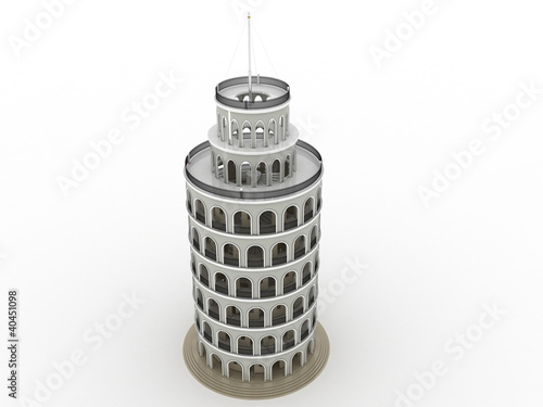 The brick tower on a white background №2