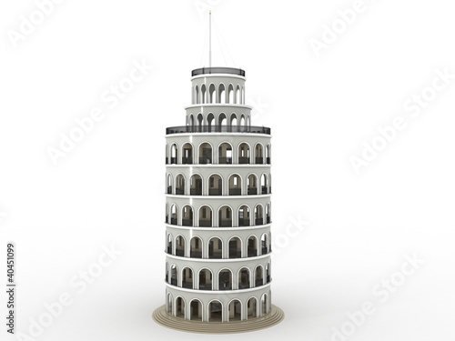 The brick tower on a white background №1