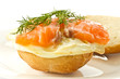 sandwich with egg and salted salmon