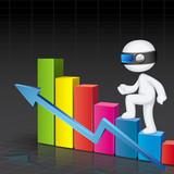 3d Man climbing Bar Graph